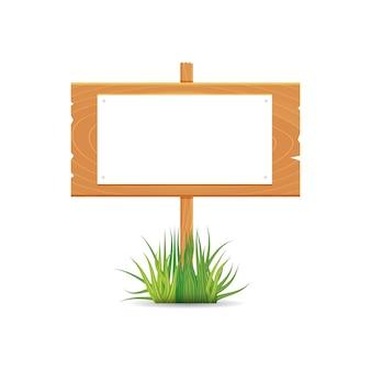 A placa em branco de madeira assina o tempo de mola com grama.