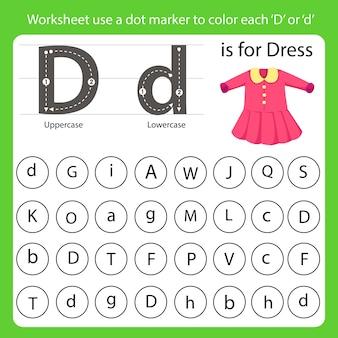 A planilha usa um marcador de ponto para colorir cada d