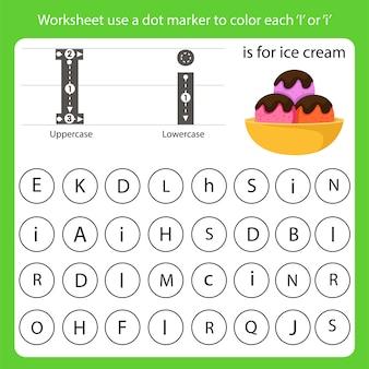 A planilha usa um marcador de ponto para colorir cada i