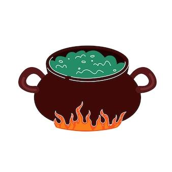 A poção ferve no caldeirão em chamas, desenho ilustração vetorial isolada