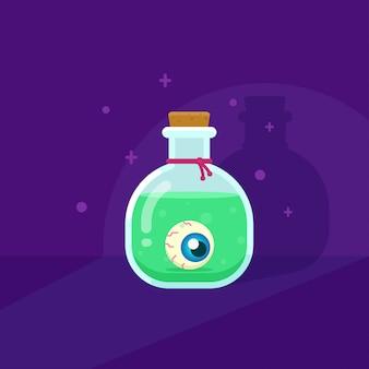 A poção mágica verde da bruxa com ilustração plana eyeball.