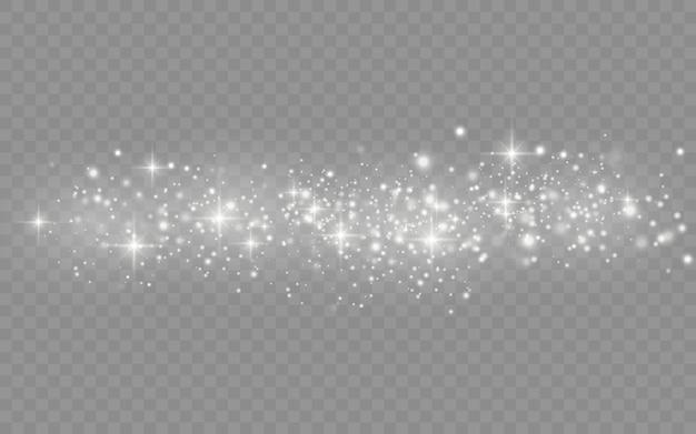 A poeira branca acende e a estrela brilha com luz especial, partículas de poeira mágica cintilantes isoladas em fundo transparente, luzes de brilho, brilho