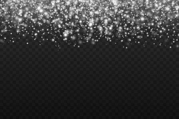 A poeira branca brilha e a estrela brilha com luz especial, partículas de poeira mágica cintilantes isoladas em fundo transparente, luzes de brilho, brilho,