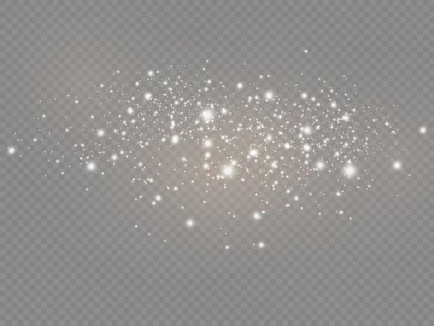 A poeira branca brilha e estrela brilha com luz especial, efeito de luz de natal spakle, partículas de poeira mágica cintilantes isoladas em fundo transparente, luzes de brilho, brilho