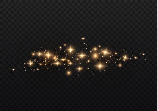 A poeira é amarela. faíscas amarelas e estrelas douradas brilham com luz especial.
