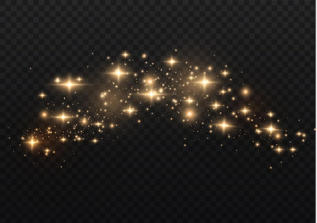 A poeira é amarela. faíscas amarelas e estrelas douradas brilham com luz especial