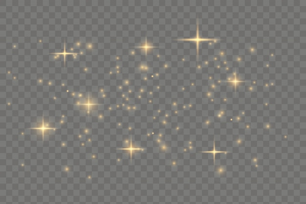 A poeira faisca e as estrelas douradas brilham com luz especial. brilhos de vetor. chr