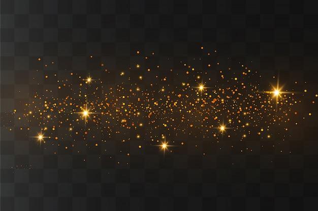 A poeira faisca e as estrelas douradas brilham com luz especial. partículas de poeira mágica cintilante.