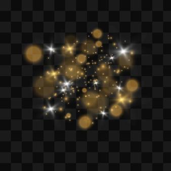 A poeira faisca e as estrelas douradas brilham com luz especial