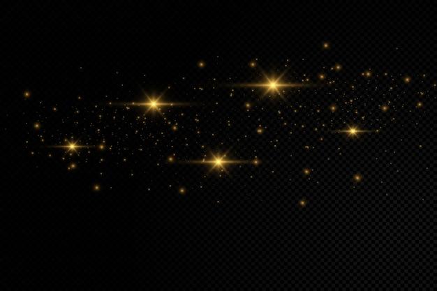 A poeira faisca e as estrelas douradas brilham com luz especial.