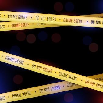 A polícia cobre com fitas amarelas da polícia. cena do crime.