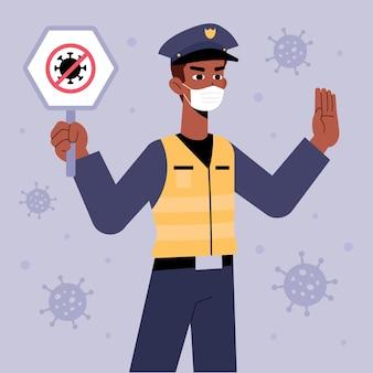 A polícia controla o conceito de coronavírus