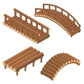 A ponte de toras de madeira. arqueado e reto. conjunto 3d isométrico plano. estrutura de engenharia de árvores do outro lado do rio. viaduto. vigas e suportes. ilustração vetorial.