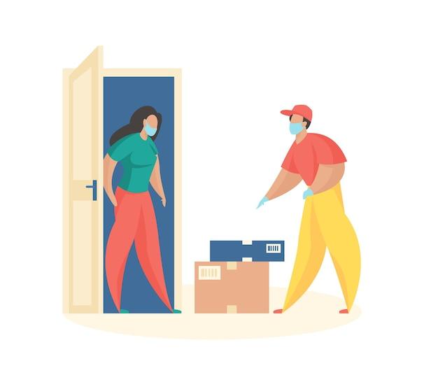 A porta de entrega de mercadorias courier com máscara mostra caixas entregues de mulheres com pedidos