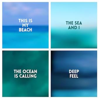 A praia abstrata do vetor borrou o fundo ajustou o jogo de 4 cores. conjunto de fundos turva quadrados - céu nuvens mar oceano praia cores