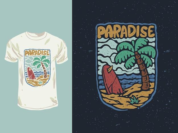 A praia paradisíaca do surfista ilustração de camiseta