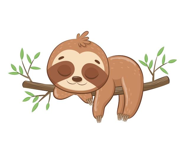 A preguiça fofa dorme docemente. desenho animado