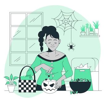 A preparar a ilustração do conceito de cesta de doces de halloween