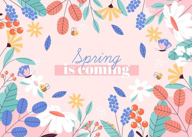 A primavera desenhada está chegando fundo Vetor Premium