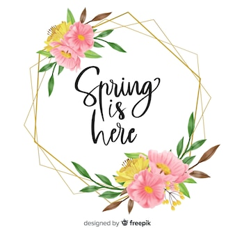 A primavera está aqui quadro com design floral