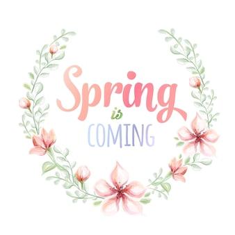 A primavera está chegando, ilustração em aquarela desenhada à mão. cartão com coroa de flores em aquarela.