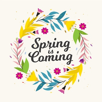 A primavera está chegando letras no quadro floral colorido