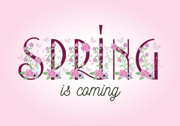 A primavera está chegando - rotulação de formulação de tipografia
