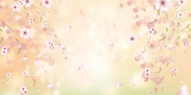A primavera está chegando. sakura pétalas caindo. fundo rosa bonito com ramo de flor de cerejeira. ilustração em aquarela de sakura.