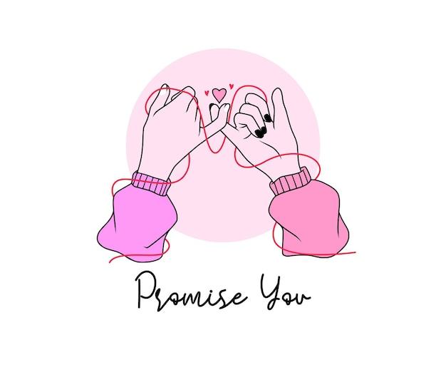 A promessa do dedo mindinho com estilo de arte de linha