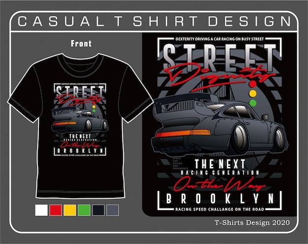 A próxima geração de corrida, ilustração de tipografia de carro para camiseta