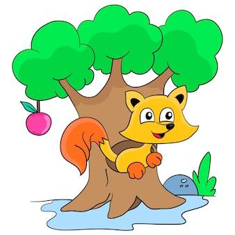 A raposa está aninhando-se na árvore. adesivo de ilustração de desenho animado fofo