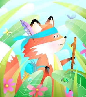 A raposa fofa faz caminhadas na floresta colorida