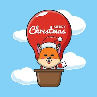 A raposa fofa no dia de natal voa com um balão de ar ilustração fofa dos desenhos animados de natal