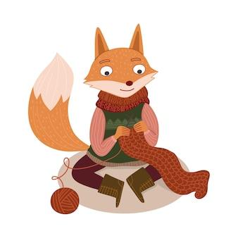 A raposa fofa tricota uma ilustração de lenço