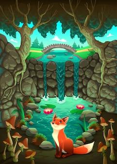 A raposa perto de uma lagoa engraçado dos desenhos animados e ilustração do vetor