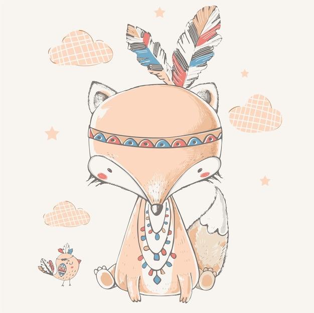 A raposa tribal fofa com tiara indiana e ilustração vetorial desenhada à mão de pássaro pode ser usada para crianças