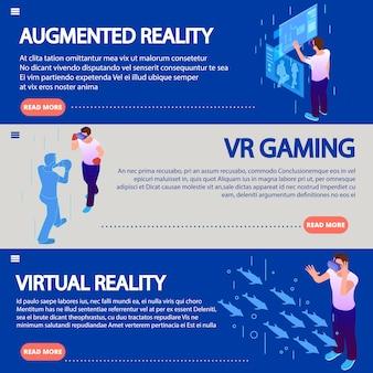 A realidade aumentada isométrica pela realidade virtual de vidro eletrônico usa ilustrações horizontais
