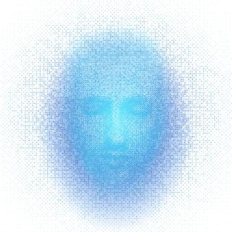 A rendição 3d da cara do robô com números representa inteligência artificial.
