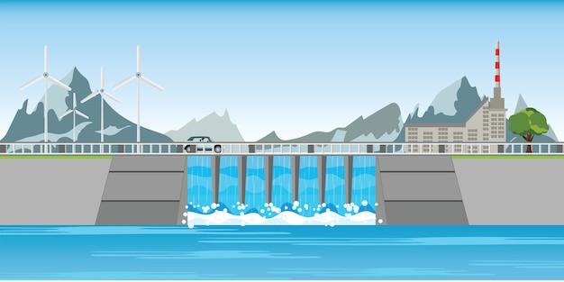 A represa e moinhos de vento entre montanhas.