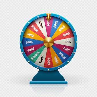 A roda da fortuna da roleta 3d isolou a ilustração do vetor para o conceito de jogo da vitória do fundo e da loteria.