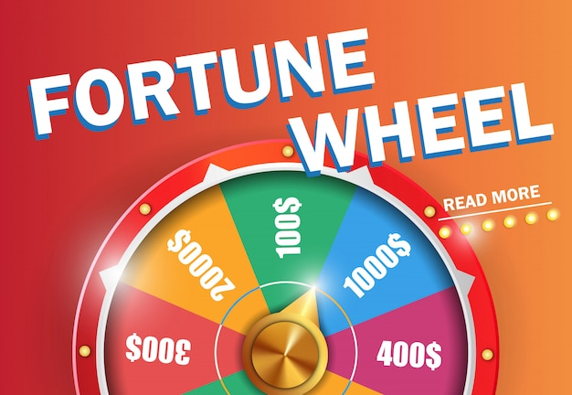A roda da fortuna leu mais inscrição no fundo alaranjado.