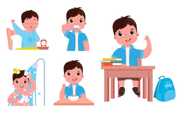 A rotina diária da criança é um menino. voltando para a escola.