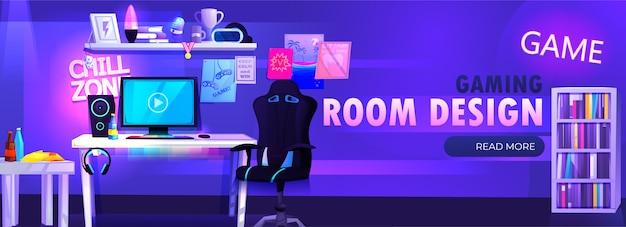 A sala de menino gamer no banner interior do sótão. o jogador de cyber desportista no local de trabalho. uma mesa com um computador e fones de ouvido e um mouse com luz e uma cadeira para jogadores. desenho animado