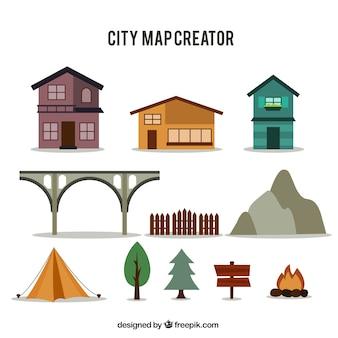 A seleção de itens para criar um mapa da cidade