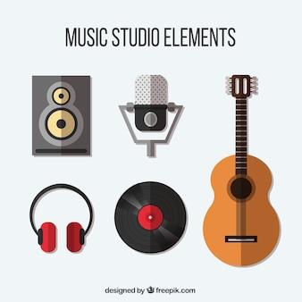 A seleção de itens relacionados a um estúdio de música