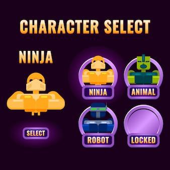 A seleção de personagens da interface do usuário do jogo arredondado roxo brilhante aparece