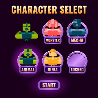 A seleção de personagens da interface do usuário do jogo de fantasia brilhante aparece