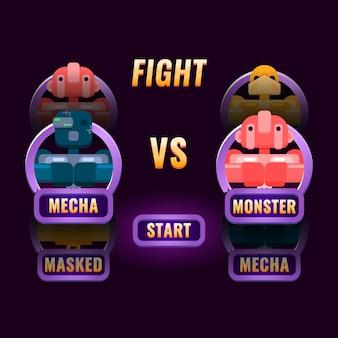 A seleção de personagens de luta da interface do usuário do jogo roxo brilhante aparece