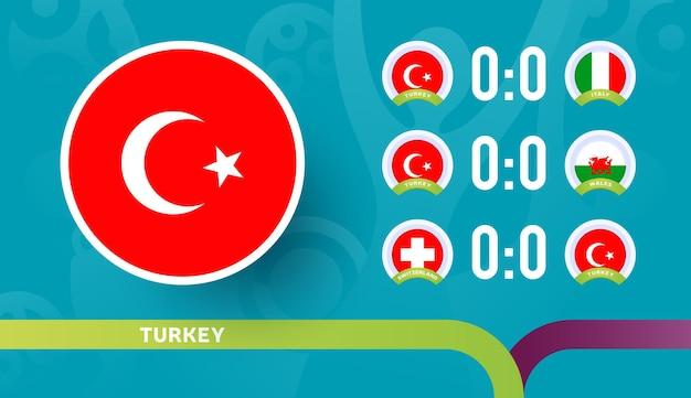A seleção turca programa jogos da fase final do campeonato de futebol de 2020