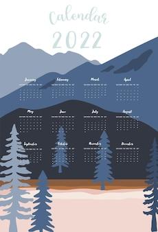 A semana do calendário de mesa 2022 começa no domingo com montanha, paisagem que usa para impressão digital vertical e tamanho a4 a5